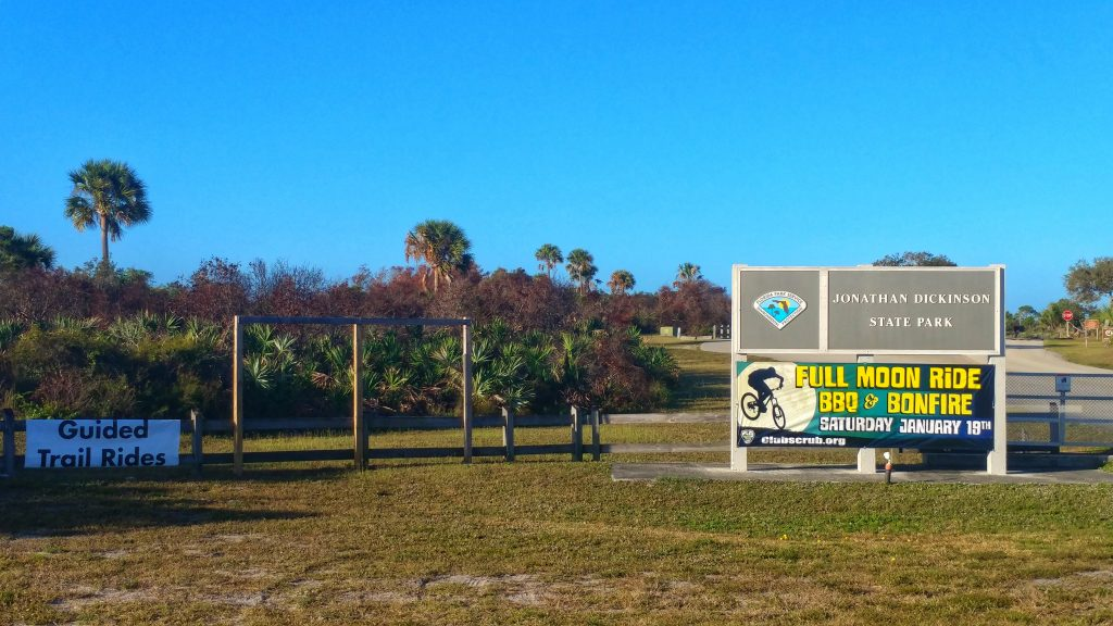 The entrance sign for Jonathan Dickinson State Park